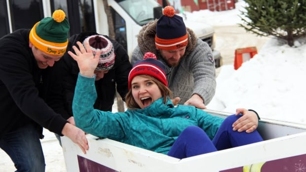 It is what it sounds like: competitors in the Deep Freeze Festival's Deep Freezer Race either ride in a chest freezer or push one.