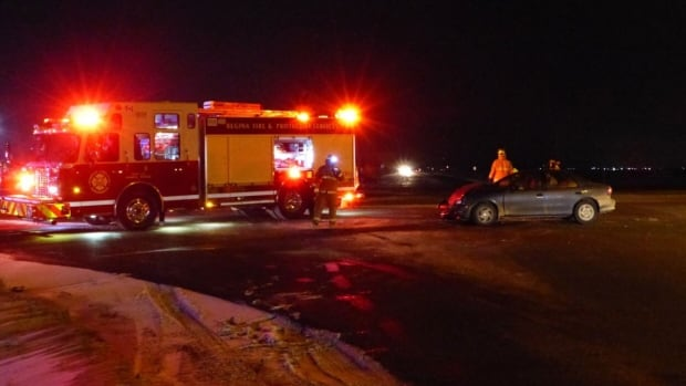A fire crew was on hand at the scene of a crash near the intersection of Highway 6 and Armour Road.