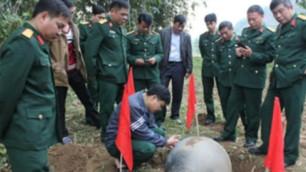 The third and largest of the three metal balls, weighing 35 to 45 kilograms and about the size of an exercise or stability ball, landed near a stream in a maize field in Vietnam's Tuyen Quang province.