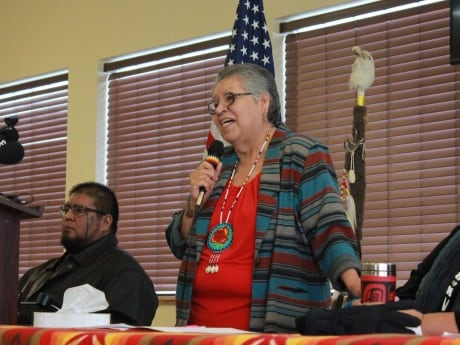 The Burns Paiute tribe is the latest group to speak out against a self-styled militia which has taken several buildings at the Malheur National Wildlife Refuge in Burns, Ore. Burns Paiute tribe chair Charlotte Rodrique spoke to reporters on Jan. 6, 2016. The tribe regards the nature preserve as sacred issued a rebuke Wednesday to the armed men who are occupying the property, saying they are not welcome at the bird sanctuary and must leave.