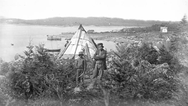 This circa 1871 photo shows members of the Mi'kmaq community at Turtle Cove (also called Turtle Grove). The Mi'kmaq lobbied for reserve status for the land, but did not get it.