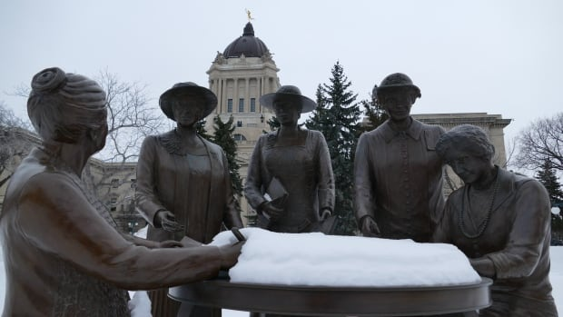 This statue depicting Nellie McClung and other members of the 'Famous Five' stands on the Manitoba Legislature grounds.