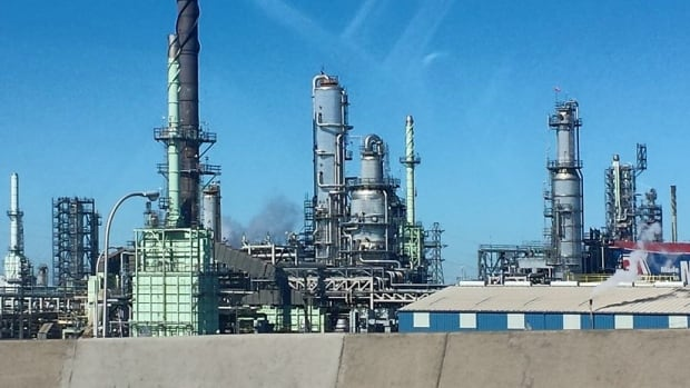 The refinery is across from LaSalle, about 6.5 km inland from the Detroit River.