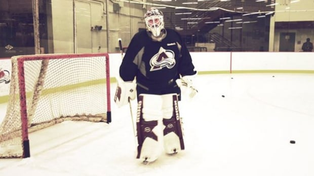 Legendary NHL goalie - and current head coach of the Colorado Avalanche - Patrick Roy  strapped on the pads and got some practice in on Thursday ahead of an alumni tilt against the Detroit Red Wings.