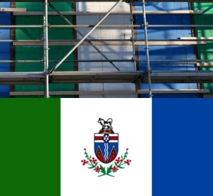 Yukon administration building insulation, and flag