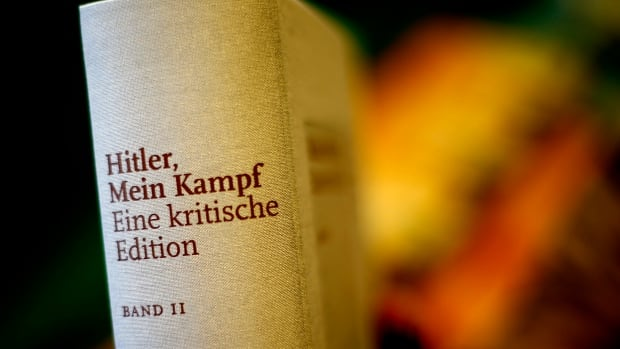 A copy of Hitler's Mein Kampf, A Critical Edition, stands on a display table in a book shop in Munich, Germany.