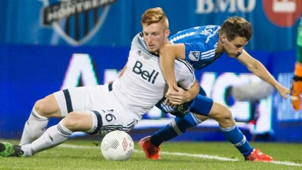 The Impact's Maxim Tissot, right, challenges the Whitecaps' Tim Parker during the 2015 Amway Canadian Championship final, won 2-0 by Vancouver. The Whitecaps will play either  FC Edmonton or Ottawa Fury FC in the semifinal this year. The two North American Soccer League teams will meet in a home-and-away series May 11 and 18 to determine who advances to play the Whitecaps in June.