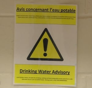 Drinking Water Advisory sign Ecole St. Augustin