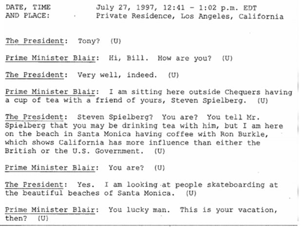 Clinton Blair talk Spielberg on July 27 1997