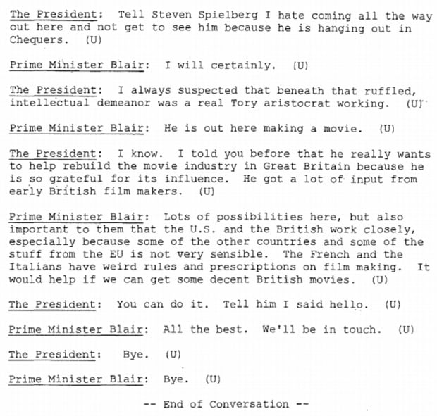 Clinton-Blair talk in declassified documents