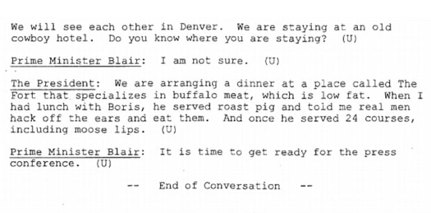 Clinton tells Blair what Boris made him eat