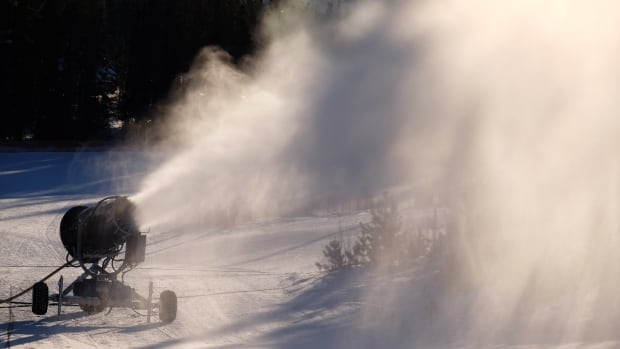 A snow-making machine, on loan from Mount Sima, will be busy all weekend at the Mount McIntyre cross country ski trails in Whitehorse.