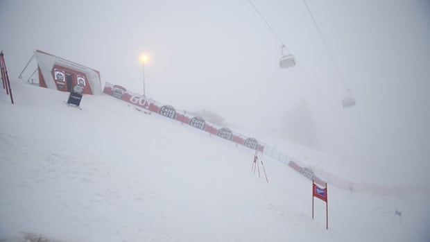 A view of the course after an alpine ski, men's World Cup giant slalom was canceled due to bad weather, in Adelboden, Switzerland on Saturday.