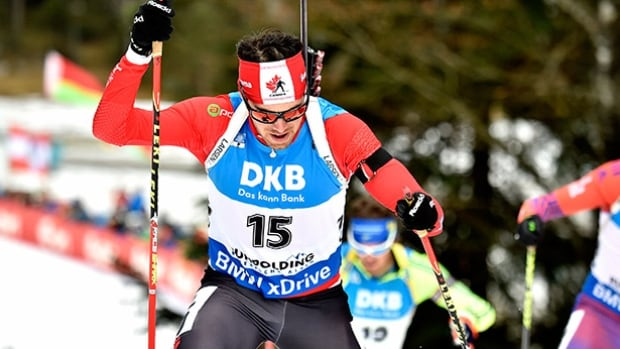 Nathan Smith of Canada competes during the IBU Biathlon World Cup men's 12.5km pursuit on Saturday in Ruhpolding, Germany.
