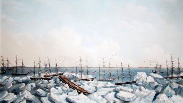 "This detail of ""Abandonment of the Whalers In The Arctic Ocean September 1871"" depicts several of the ships involved in near-disaster. Wainwright Inlet is in the background."