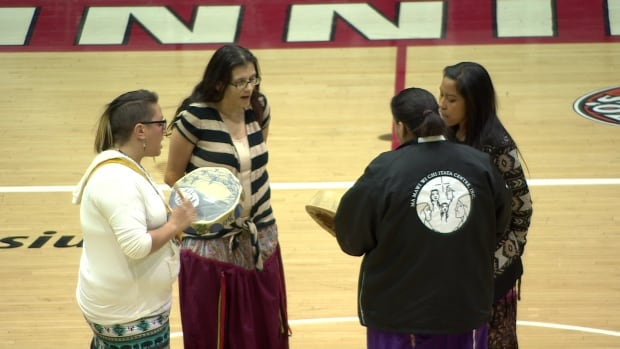 Throughout the women's and men's games against the Brandon University Bobcats, indigenous culture was celebrated through traditional song and dance.
