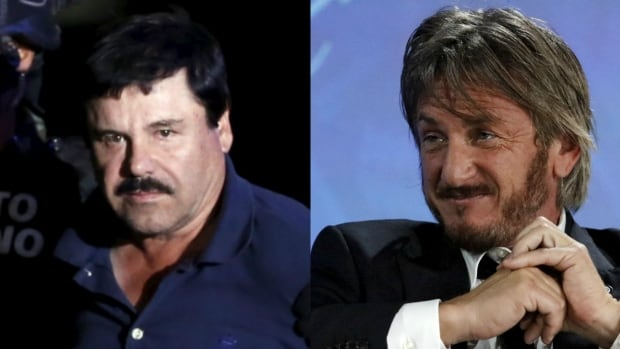 "Mexican drug lord Joaquin ""El Chapo"" Guzman (left) met with U.S. actor Sean Penn (right) in his hideout in Mexico months before his recapture by Mexican marines in his home state of Sinaloa, according to Rolling Stone magazine."