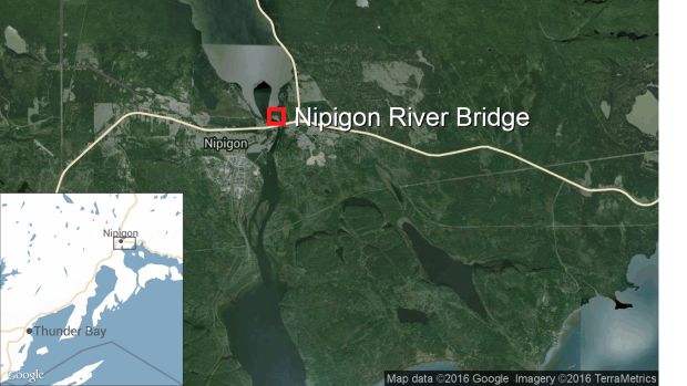 Map of Nipigon River Bridge