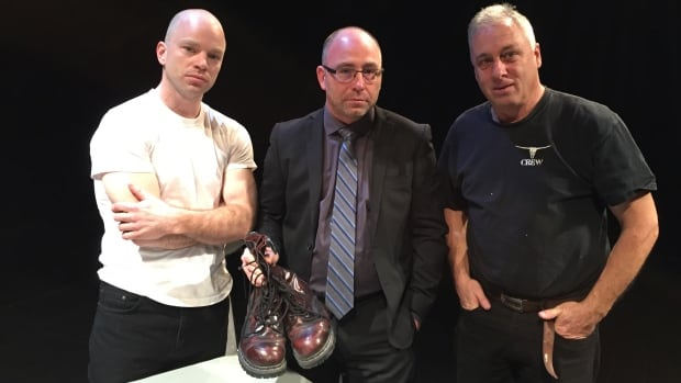 From left to right: Nigel Beardwood, the lead actor in Cherry Docs; Daniel Gallant, holding his pair of cherry Docs that are featured in the play, and director Glen Cairns.