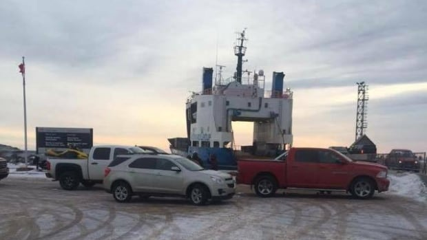 Protesters parked their vehicles across the ramp in Blanc Sablon Monday to prevent the MV Astron from loading.