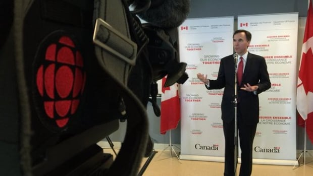 Federal Finance Minster Bill Morneau at Dalhousie University taking questions from the media.