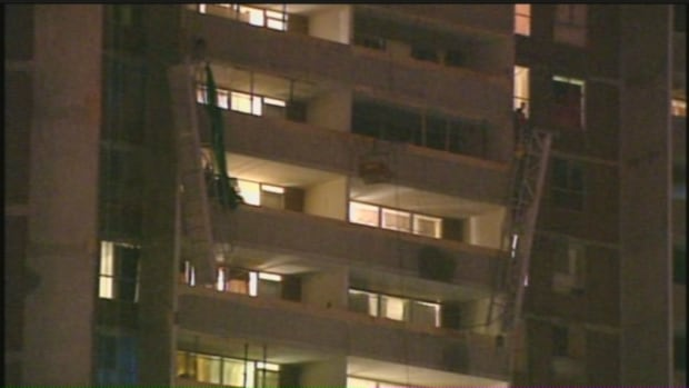 Six workers were repairing balconies on the 13th floor of this Kipling Avenue apartment building on Dec. 24, 2009. Only one man was wearing a safety harness when the swing-stage they were working on collapsed. Four men died and one was seriously injured when they plummeted more than 30 metres.