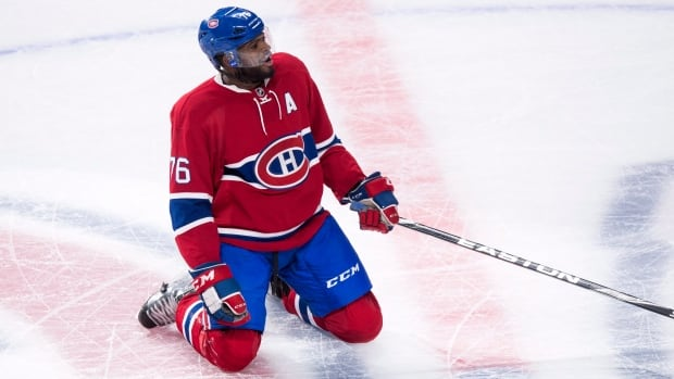 Montreal Canadiens' P.K. Subban ended his scoring drought in a loss to the Pittsburgh Penguins on Saturday night.
