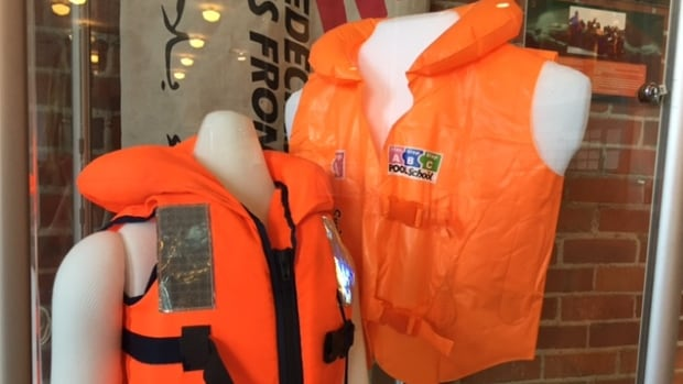 The life jackets were collected by Médecins Sans Frontières /Doctors Without Borders field workers.