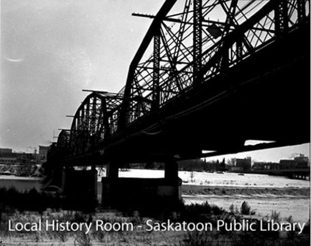 Traffic Bridge after being raised 1966