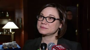 Shannon Phillips speaks to reporters in Calgary