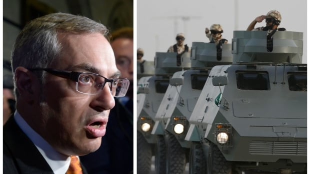 Left, Conservative MP and global affairs critic Tony Clement demands the Liberal government release more details on Canada's $15 billion arms deal with Saudi Arabia. Right, Saudi forces in a graduation ceremony in Riyadh. Saudi Arabia is widely criticized for its human-rights practices.