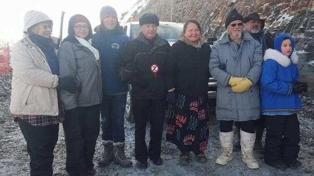 David Suzuki, third from the right, and Grand Chief Stewart Phillip, centre, joined protesters at the Site C protest camp at Rocky Mountain Fort on Monday.