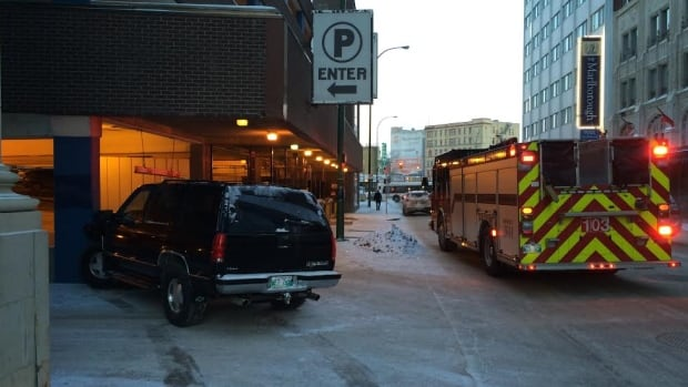 There's no word on injuries after an SUV ended up against the wall of a Winnipeg parkade on Wednesday.