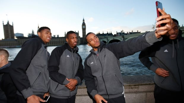 Toronto Raptors, from left to right, Bruno Caboclo, Delon Wright and Norman Powell take a selfie while in London, where they play the Orlando Magic on Thursday.