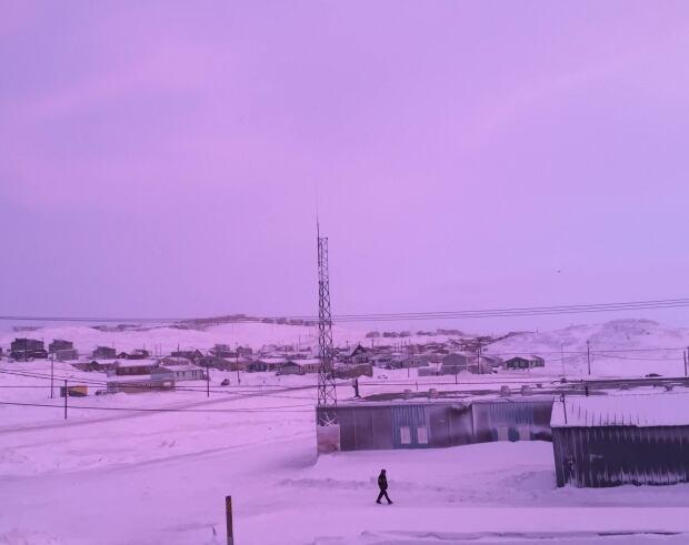 Pink sky in Iqaluit