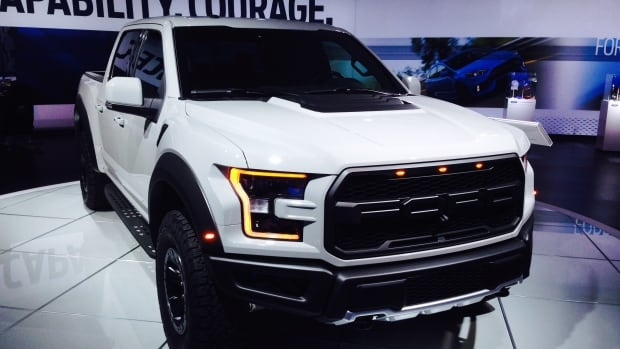 The 2017 F-150 Raptor sits on display at the 2016 North American International Auto Show in Detroit, Mich.