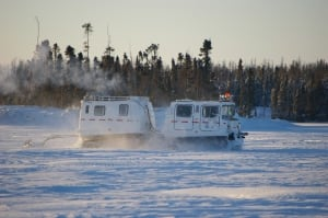 Hagglund profiles ice thickness on Tibbitt to Contwoyto road