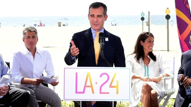 Los Angeles Mayor Eric Garcetti speaks at a press conference in September to officially launch a Los Angeles 2024 Olympic and Paralympic games bid.