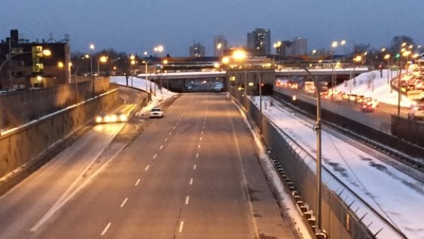Police have closed the northbound Allen Expressway from Eglinton Avenue West to Highway 401 for an investigation into what they are calling a drive-by shooting earlier this afternoon. (Trevor Dunn/CBC)