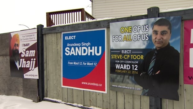 Election signs are posted across Ward 12 for the city byelection.