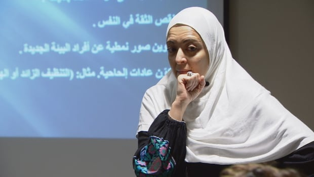 Rasha Abdelabi gives newcomers to Canada some advice about adapting to Canadian culture at the first Arabic Women's Support group meeting in Surrey, B.C.