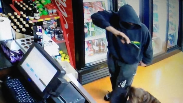 RCMP issued this picture of an armed robbery suspect at an Airdrie liquor store late Tuesday.