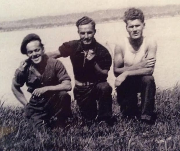Angelika's father with friends