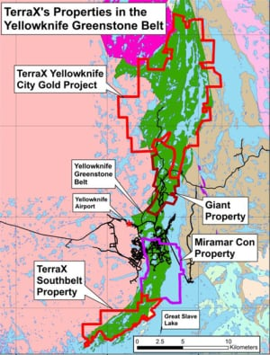 Map of Terra X Minerals' Yellowknife City Gold project