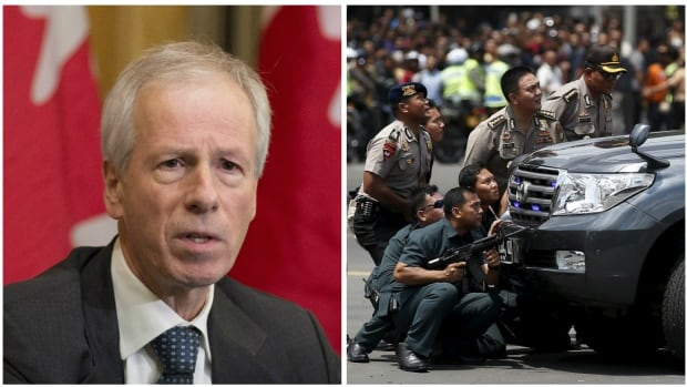 Foreign Affairs Minister Stephane Dion, left, is vowing to help Indonesia fight extremism after a violent attack by ISIS-aligned militants in Jakarta on Thursday reportedly left one Canadian dead.