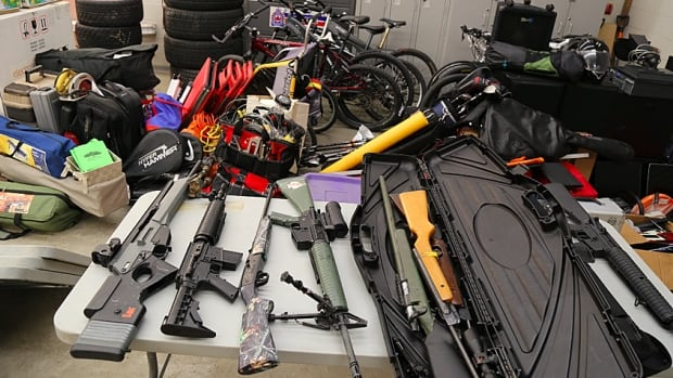These are some of the items police found in a Stoney Creek storage locker.