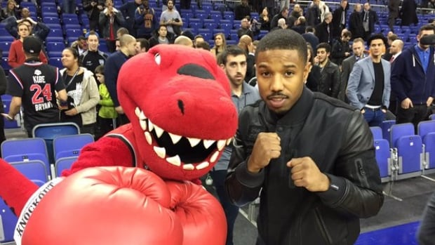 The Raptor traded a few jabs with Michael B. Jordan at London's O2 Arena.