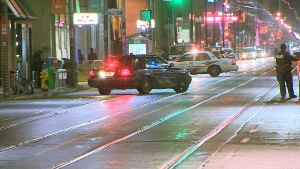 A woman walked to hospital after she was shot on King Street East this morning.