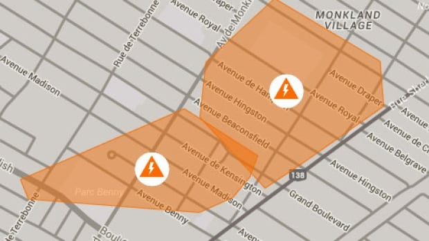 The areas affected by the power outage as of 8:48 a.m.