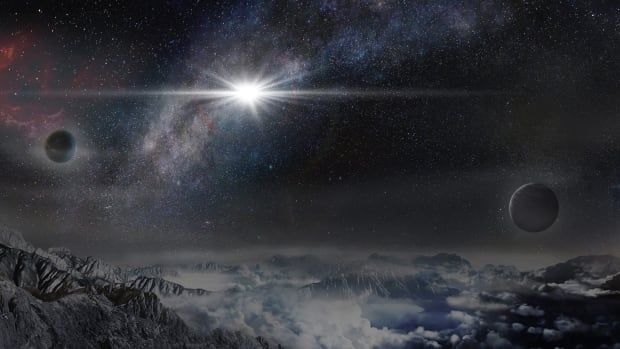 An artist's impression of the super luminous supernova ASASSN-15lh as it would appear from an exoplanet located about 10,000 light-years away from the explosion, in the host galaxy of the supernova.